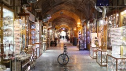 bicycle parked in Grand Bazaar Iran Isfahan middle East