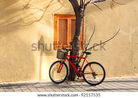 Bicycle parked near a tree on the house wall background on sunny winter day