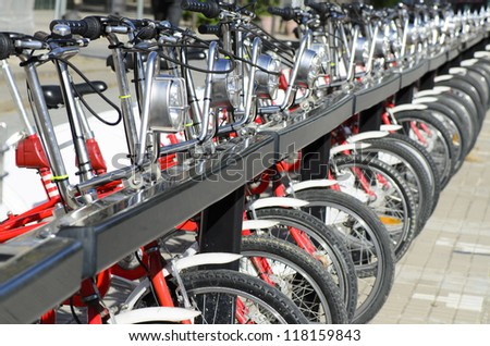 Bicycle Parking in Barcelona Spain