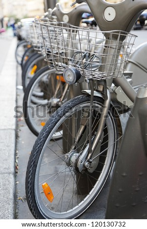 Bicycle Parking in the street of the city