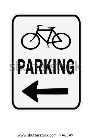 Bicycle Parking Left sign isolated on a white background