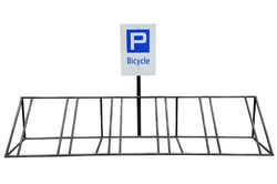 Bicycle parking made steel painted black isolated on white background