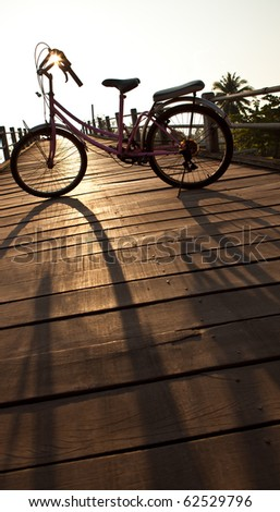 Bicycle parking on the wooden bridge