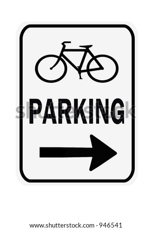 Bicycle Parking Right sign isolated on a white background