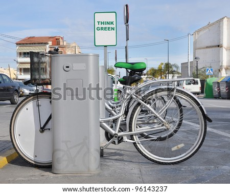 Bicycle Parking Think Green Social Awareness Sign