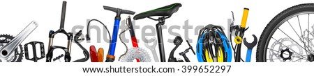 bicycle parts panorama isolated ...