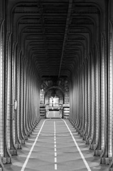 Bicycle passage under the Passy Viaduct in Paris (The Bir-Hakeim Bridge)
