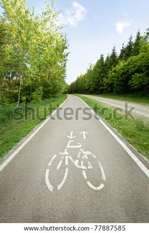 Bicycle path in the park. - stock photo