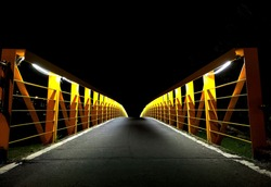 bicycle path of yellow light bridge in Taipei City to New Taipei City