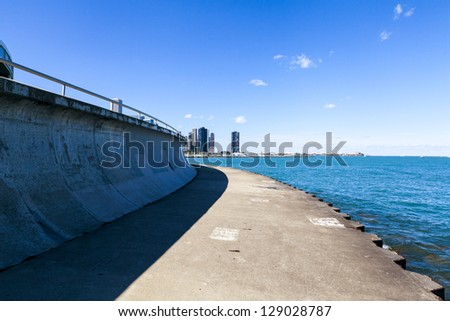 bicycle path with downtown chicago in background