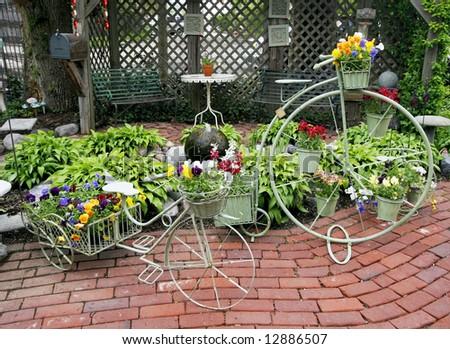 bicycle planters at nursery