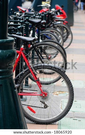 bicycle rack in downtown of Calgary