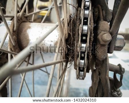 Bicycle rear freewill gear of chain in closeup. #1432024310