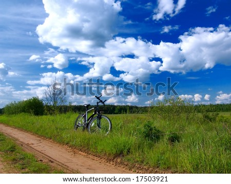 Bicycle resting by side of road in summer countryside scene