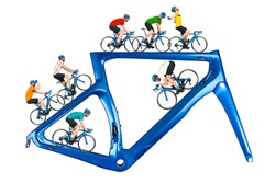 bicycle road racing tour concept. cyclist in competition jersey on race bike riding on a modern blue carbon frame isolated on white background