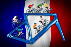 bicycle road racing tour concept. cyclist in competition jersey on race bike riding on a modern blue carbon frame on blue white red french france flag background