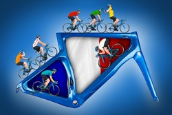 bicycle road racing tour concept. cyclist in competition jersey on race bike riding on a modern blue carbon frame on blue white backgroundwith french france flag