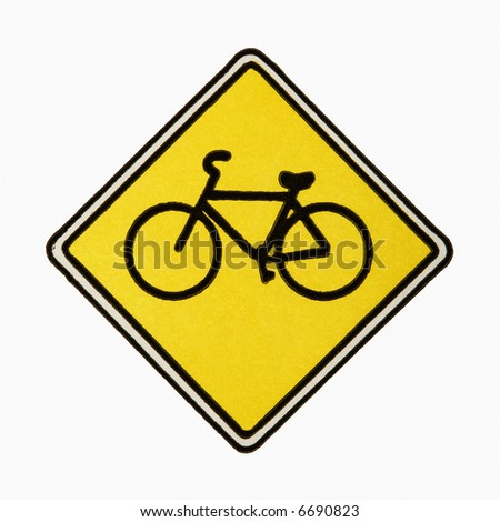 Bicycle road sign against white background.