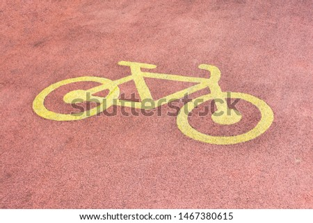 Bicycle road sign on the road. Bicycle road sign on the road.