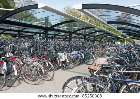 Bicycle shelter in a big Dutch city