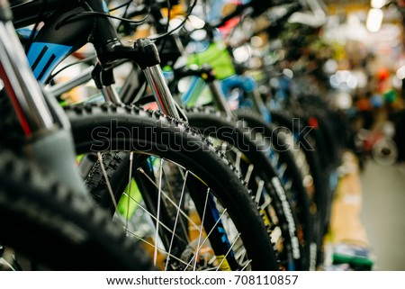 Bicycle shop, rows of new bikes, cycle sport store - Shutterstock ID 708110857