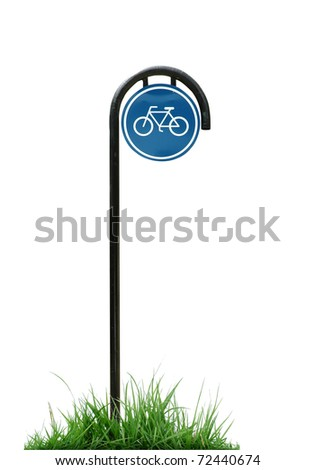 bicycle sign and green grass isolated