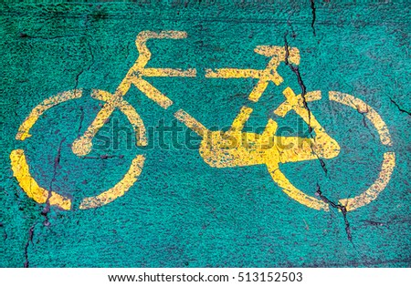 Bicycle sign on asphalt #513152503