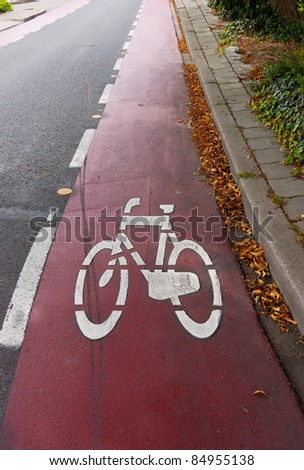 Bicycle sign on lane, vertical photo