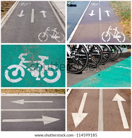 Bicycle signs on the streets collage