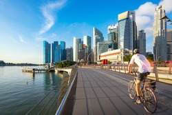 Bicycle sport in marina bay area, Singapore city