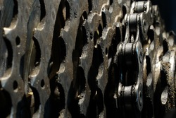 Bicycle sprockets and chain close up industrial