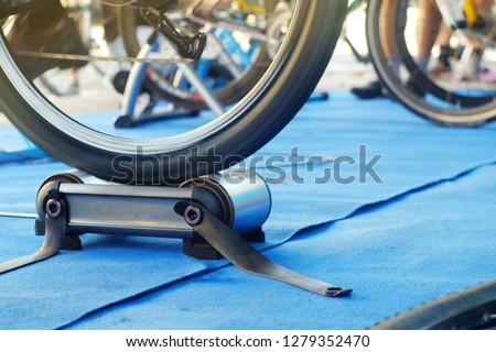 Bicycle test before the race on a special rink, the theme of sports and recreation  #1279352470