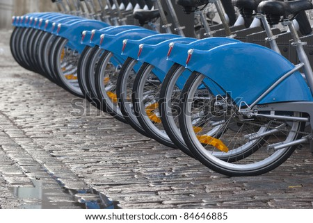 Bicycle tires in a row - stock photo