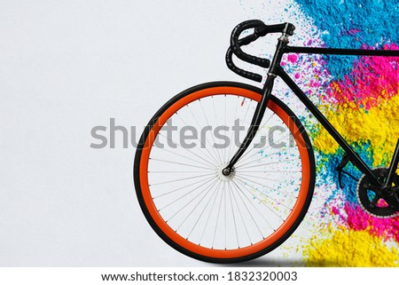 Bicycle Vintage Red.bicycle fixed gear on background.ecological transportation concept.front and wheel of red race road bike.Bicycle background.