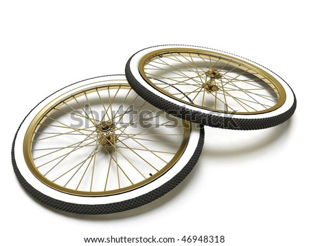 Bicycle vintage wheel, white wall, isolated on white #46948318