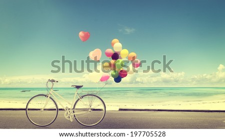 stock photo bicycle vintage with heart balloon on beach blue sky concept of love in summer and wedding 197705528 - Каталог — Фотообои «Ретро»