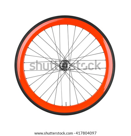 Bicycle wheel isolated on white  #417804097