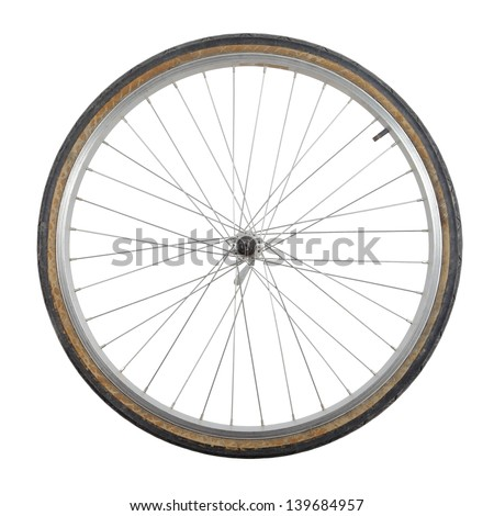 Bicycle wheel isolated on white background #139684957
