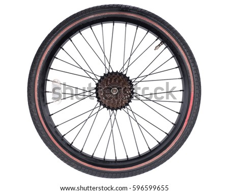 bicycle wheel set isolated on white background, consisting of spokes, tire and bearing system with some metallic gears #596599655
