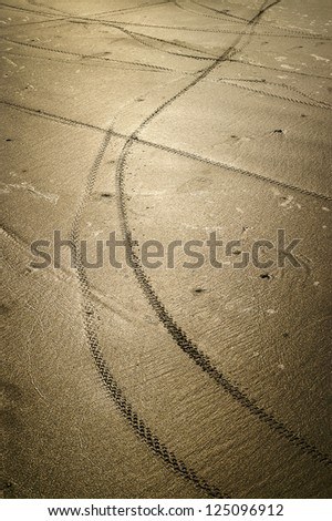Bicycle wheel tracks on the wet sand - stock photo