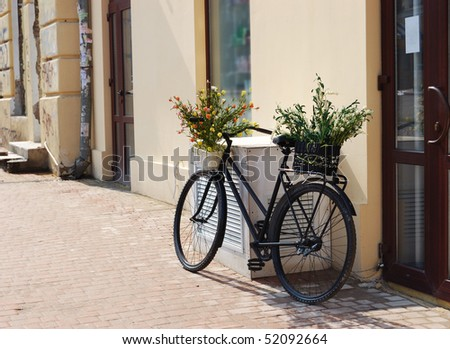 Bicycle with baskets of flowers