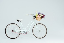 bicycle with flower basket isolated on grey
