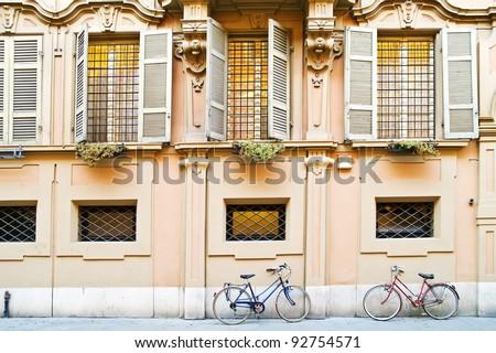 Bicycles at a wall
