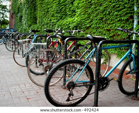 Bicycles in rack