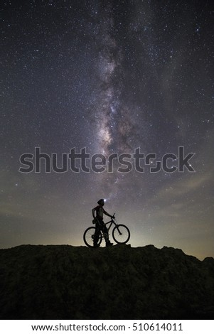 Bicycles on the hill Background Milky way #510614011