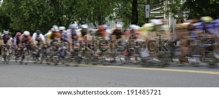 bicycles speed by at a bicycle...