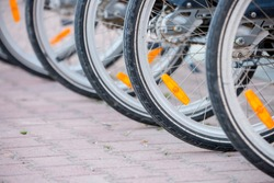 Bicycles stand in a parking lot in a row, bike path, city transport. Sports cycling. Wheels closeup.