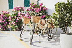 Bicycles with beautiful street at the background, active lifestyle, travel and vacations in Europe concept