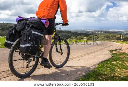 Bicyclist rides on the road