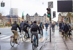 Bicyclists on road in Copenhagen. Denmark